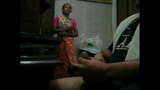 Handjob With Maid Around