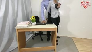 Huge squirt and anal fuck for protect my job at office